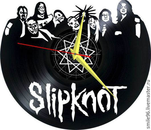 """Часы для дома ручной работы. Ярмарка Мастеров - ручная работа. Купить Часы из пластинки """"Slipknot"""". Handmade. Slipknot, рок"""