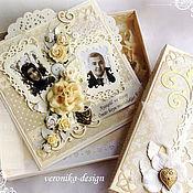 """Свадебный салон ручной работы. Ярмарка Мастеров - ручная работа Свадебная открытка с фотографией в коробочке """"Cream rose"""". Handmade."""