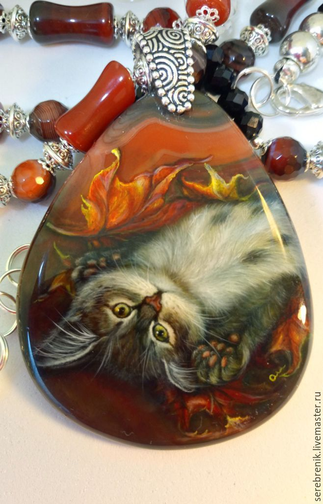 Kitten THEA – shaped pendant with lacquer-painted carnelian, Jewelry Sets, Moscow,  Фото №1
