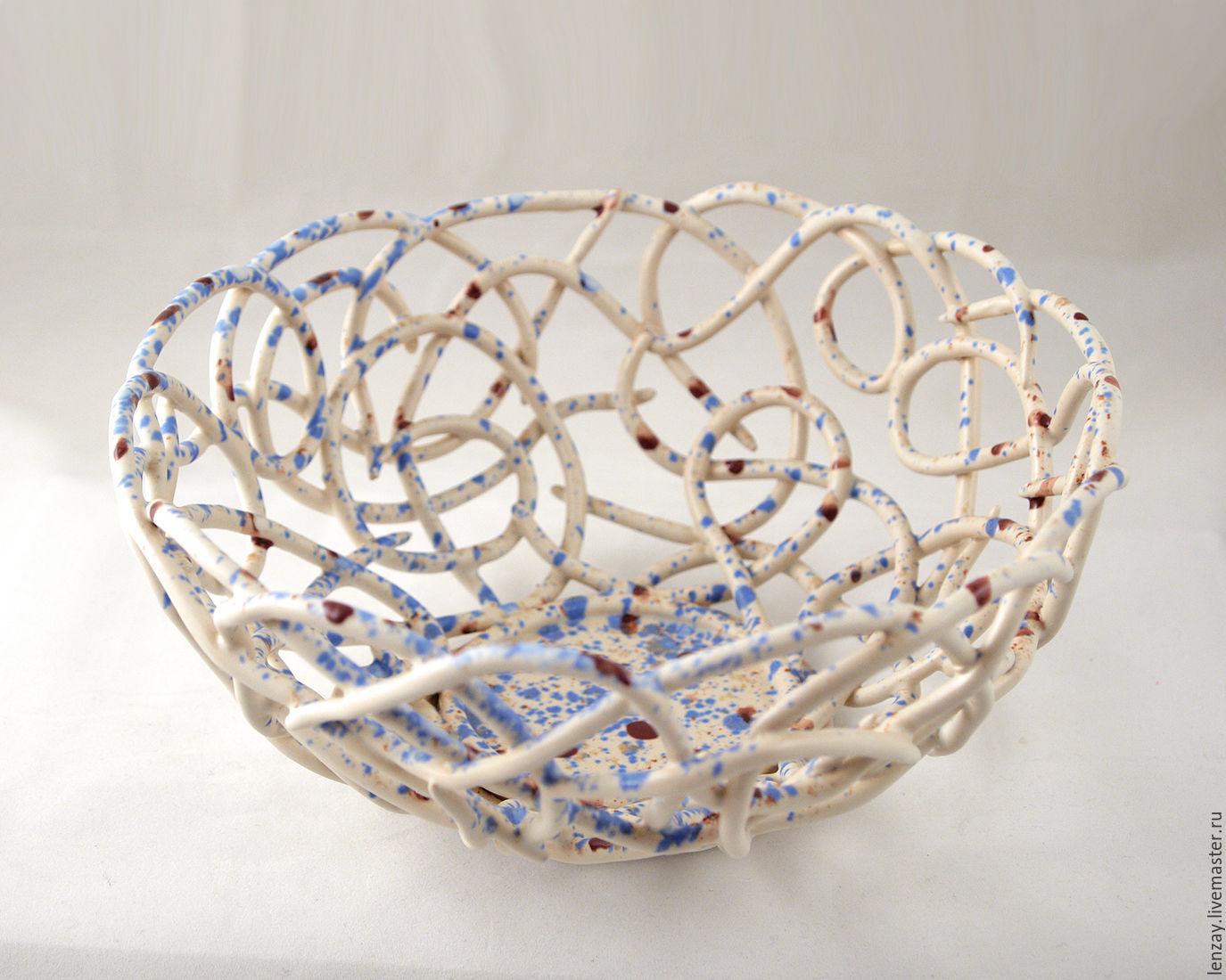 Ажурная конфтеница `Морской прибой` d=20см. Плетеная керамика Елены Зайченко