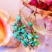 "Украшения handmade. Livemaster - original item Earrings with turquoise "" Rhodes"". Handmade."