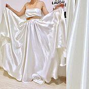 Одежда ручной работы. Ярмарка Мастеров - ручная работа Атласная Юбка в пол макси. Handmade.