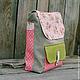 Женские сумки ручной работы. Ярмарка Мастеров - ручная работа. Купить Рюкзак из льна и хлопка. Handmade. Розовый, рюкзак городской