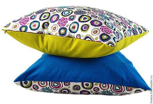 Текстиль, ковры ручной работы. Ярмарка Мастеров - ручная работа. Купить Пара подушек. Handmade. Разноцветный, подушка на диван, холофайбер