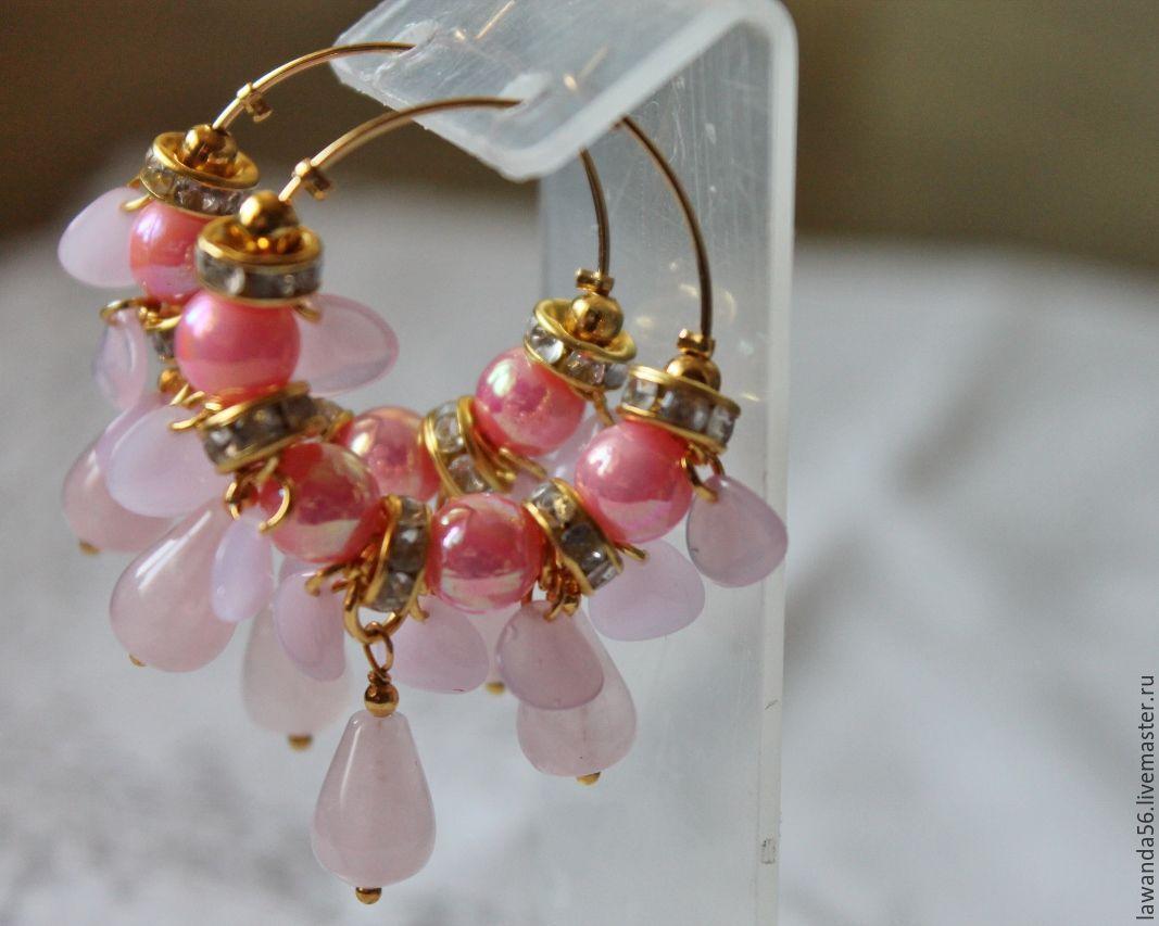 Earrings with rose quartz, gold plated beads Rose garden, Earrings, Krasnoyarsk,  Фото №1