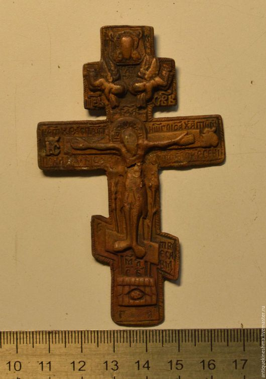 Винтажные предметы интерьера. Ярмарка Мастеров - ручная работа. Купить Крест Распятие Христово 18 век киотный меднолитой. Handmade.