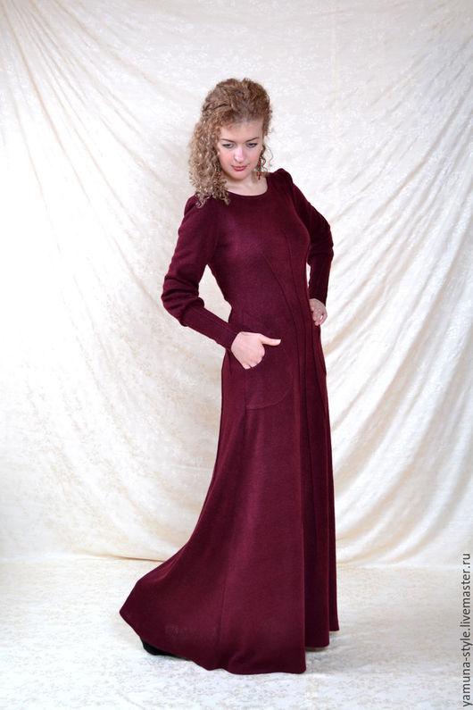 Платья ручной работы. Ярмарка Мастеров - ручная работа. Купить Длинное платье из теплого трикотажа. Handmade. Бордовый, трикотаж