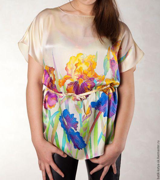 """Блузки ручной работы. Ярмарка Мастеров - ручная работа. Купить Батик блуза """"Нежность"""". Handmade. Бежевый, шелковая блуза"""