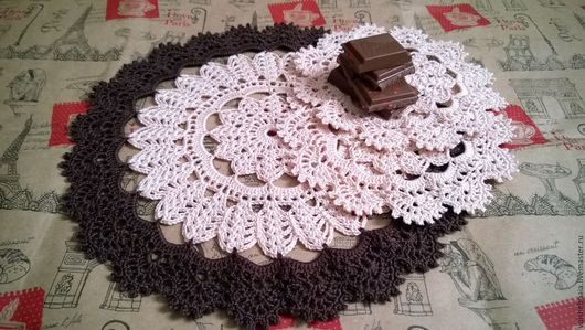 Текстиль, ковры ручной работы. Ярмарка Мастеров - ручная работа. Купить Набор сервировочных чайно-кофейных салфеток 3шт, ажурные, винтаж, эко. Handmade.