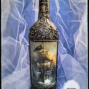 Бутылки ручной работы. Ярмарка Мастеров - ручная работа Для тех кто в душе настоящий пират. Декупаж. Handmade.
