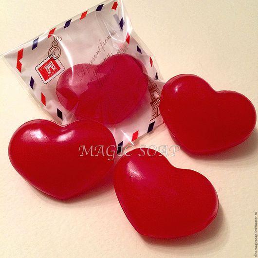 Мыло ручной работы. Ярмарка Мастеров - ручная работа. Купить мыло для влюбленных Сердечки (3d). Handmade. Ярко-красный, валентинки