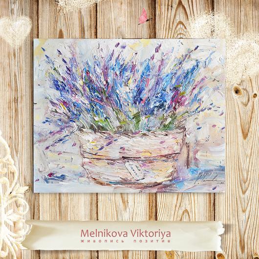 `Лаванда в плетеной корзине ` 50/40 см картина маслом