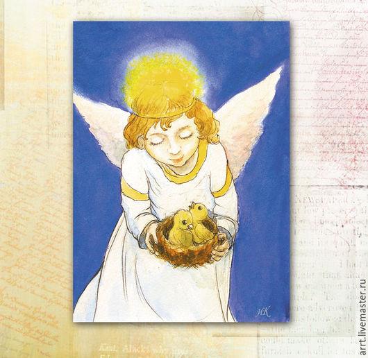 Открытки к Пасхе ручной работы. Ярмарка Мастеров - ручная работа. Купить Ангел и Цыплята Открытка. Handmade. Открытка, маленькие картинки