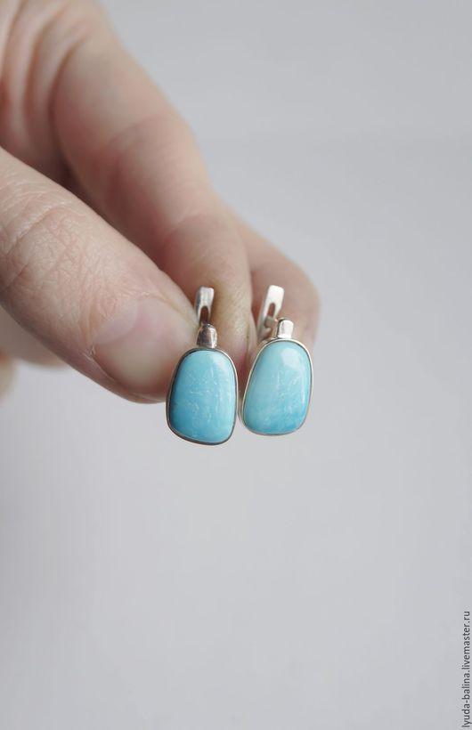 """Серьги ручной работы. Ярмарка Мастеров - ручная работа. Купить """"Кусочек неба"""" серьги с бирюзой. Handmade. Голубой, натуральные камни"""