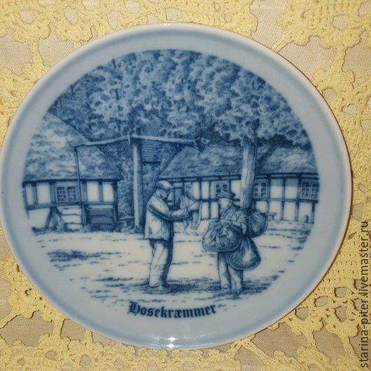 Винтажная посуда. Ярмарка Мастеров - ручная работа. Купить Датский Королевский фарфор. Handmade. Тёмно-синий, Настенная тарелка