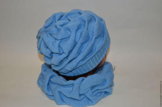 Шапки ручной работы. Ярмарка Мастеров - ручная работа. Купить Вязаный комплект шапка и снуд хамут клоке в ассортименте. Handmade.