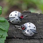 Украшения handmade. Livemaster - original item Ladybug earrings (925 silver, garnet). Handmade.