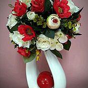 Композиции ручной работы. Ярмарка Мастеров - ручная работа Композиция из искусственных цветов  в красных и белых цветах. Handmade.