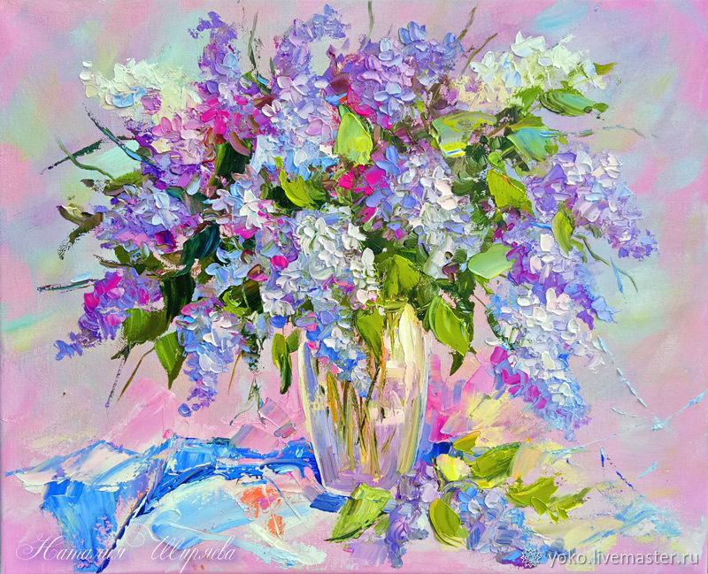 Oil painting lilac - buy a vivid picture of the Shiryaevo Natalia.