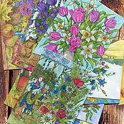 Открытки ручной работы. Ярмарка Мастеров - ручная работа Набор поздравительных открыток с цветами для посткроссинга 10 штук. Handmade.