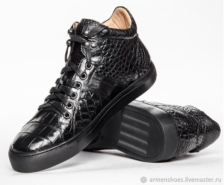 Sneakers classic from the abdominal part of the crocodile skin, in black, Sneakers, Tosno,  Фото №1