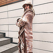 Одежда handmade. Livemaster - original item DP_004 Coat chocolate and beige, with contrasting chocolate ruffle.. Handmade.