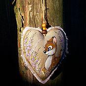 handmade. Livemaster - original item Linen fragrant heart Aromasashe Fawn Batik Painting. Handmade.