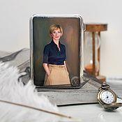 Сувениры и подарки handmade. Livemaster - original item Cigarette case: Portrait of a girl. Lacquer miniature. Handmade.