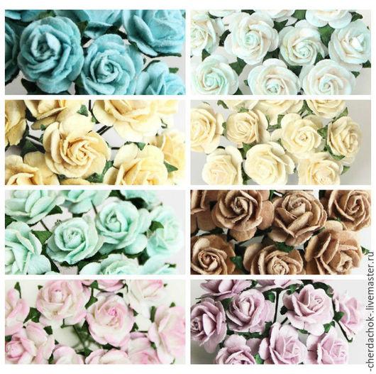 Открытки и скрапбукинг ручной работы. Ярмарка Мастеров - ручная работа. Купить Розы 1,5 см. Handmade. Цветы бумажные