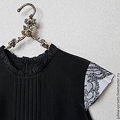 Одежда ручной работы. Ярмарка Мастеров - ручная работа Блузка шелковая черная с кружевом и защипами. Handmade.