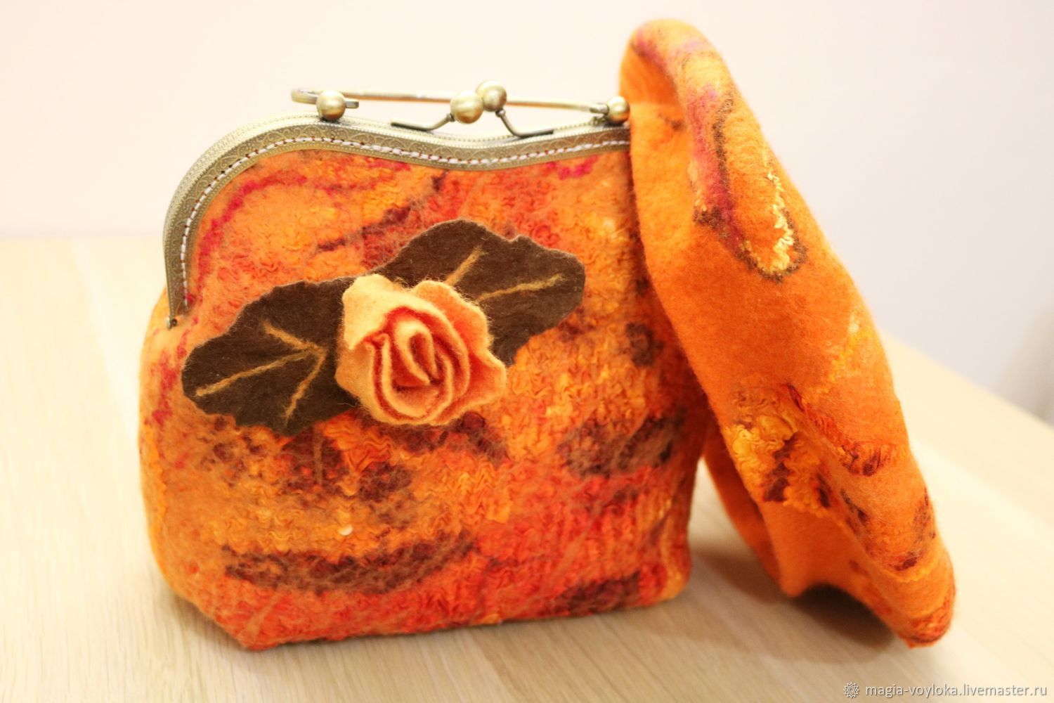 Bag with clasp: Bag felted orange beautiful Caprice, Clasp Bag, Serpukhov,  Фото №1