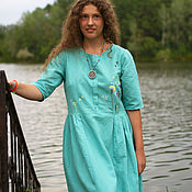 Одежда handmade. Livemaster - original item dresses: Light turquoise with flowers. Handmade.
