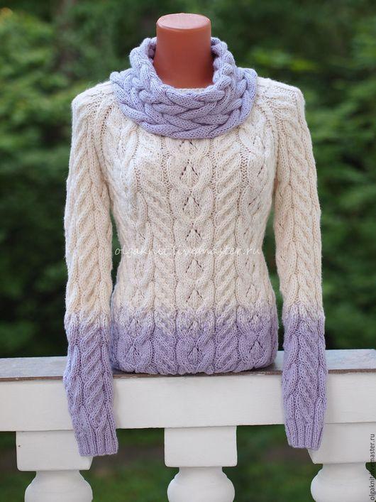Кофты и свитера ручной работы. Ярмарка Мастеров - ручная работа. Купить Теплый вязаный пуловер. Handmade. Белый, пуловер женский