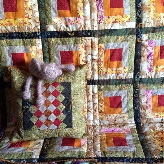 """Текстиль, ковры ручной работы. Ярмарка Мастеров - ручная работа. Купить """"Домашний очаг"""" лоскутное одеяло. Handmade. Разноцветный, излучение"""