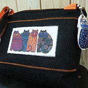 Сумки и аксессуары ручной работы. Ярмарка Мастеров - ручная работа Сумка Pussycat / джинс кошки купить подарок сумку. Handmade.