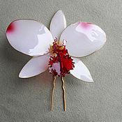 Украшения handmade. Livemaster - original item Large white Cattleya hair clip handmade. Handmade.