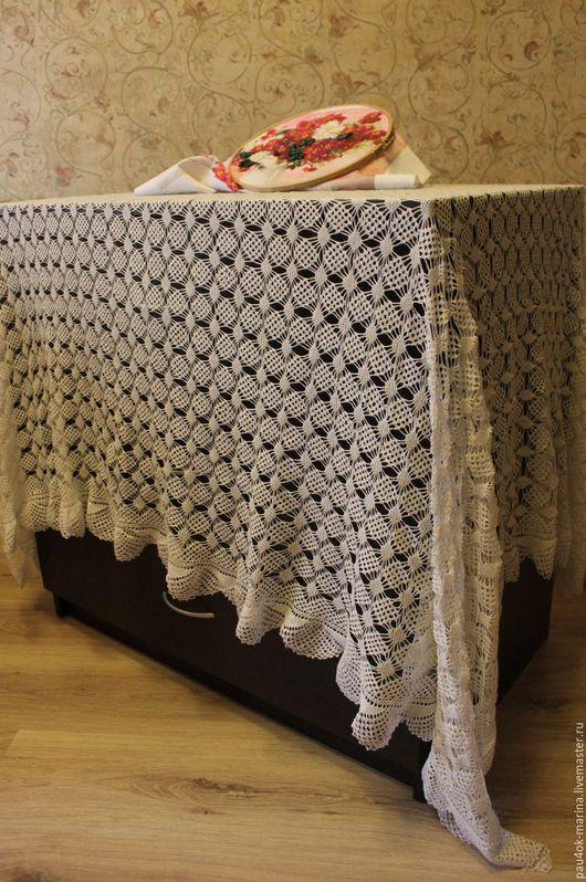 """Текстиль, ковры ручной работы. Ярмарка Мастеров - ручная работа. Купить Белая скатерть """"Паучки"""". Handmade. Скатерть, белый"""