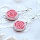 Серьги `Розовые розы` средние, из полимерной глины