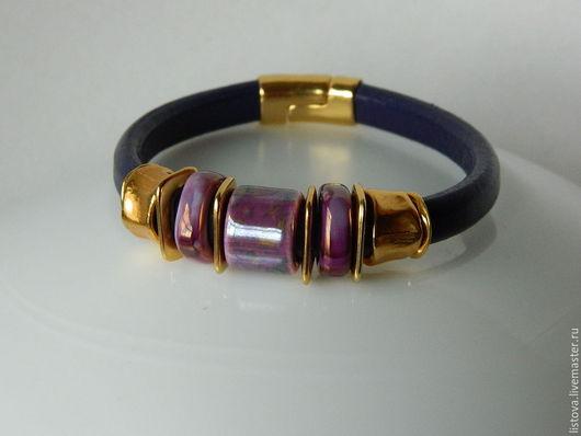 Браслеты ручной работы. Ярмарка Мастеров - ручная работа. Купить Кожаный браслет Regaliz фиолетовый Грезы. Handmade. Браслет