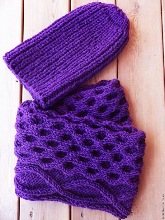 Шапки ручной работы. Ярмарка Мастеров - ручная работа. Купить Шапка вязаная бини из толстой  пряжи и снуд  шарф.. Handmade.