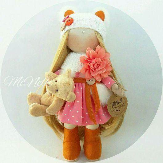 Куклы тыквоголовки ручной работы. Ярмарка Мастеров - ручная работа. Купить Интерьерная кукла Персик. Handmade. Кукла ручной работы