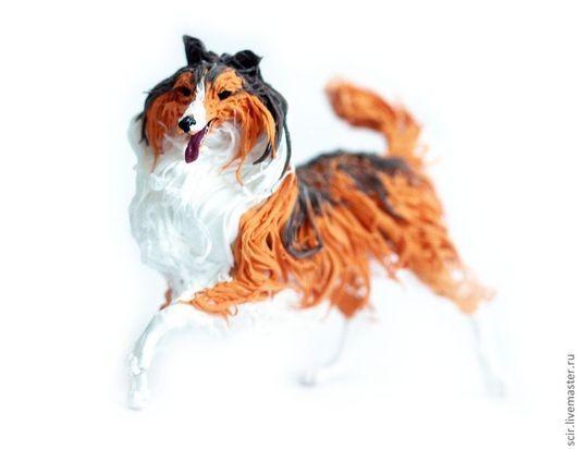 """Игрушки животные, ручной работы. Ярмарка Мастеров - ручная работа. Купить фигурка """"Колли"""" (рыжее с чёрным; статуэтка собаки). Handmade."""