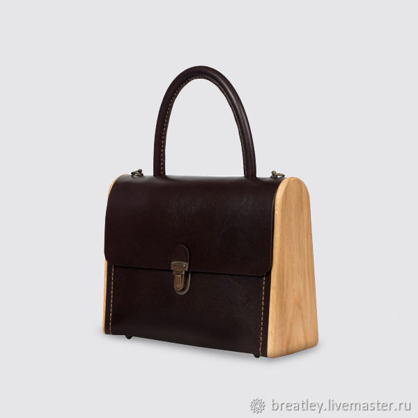 Bag made of genuine leather and wood MOLLY-bitter chocolate, Classic Bag, Moscow,  Фото №1