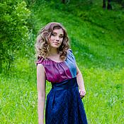 """Одежда ручной работы. Ярмарка Мастеров - ручная работа Платье """"Синее с кружевом"""". Handmade."""