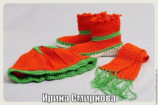 """Обувь ручной работы. Ярмарка Мастеров - ручная работа. Купить Комплект для девочки """"Тыковка"""". Handmade. Хлопок 100%"""