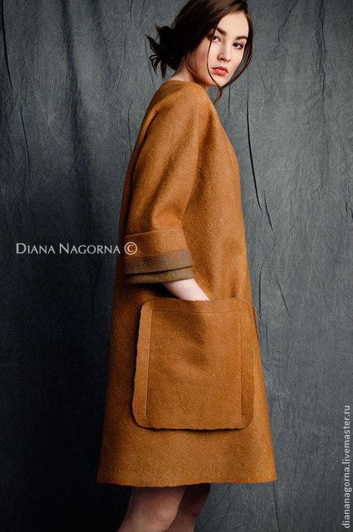 Верхняя одежда ручной работы. Ярмарка Мастеров - ручная работа. Купить Легкое  пальто из мериносовой шерсти и шелка. Handmade. Пальто
