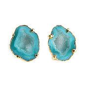 Украшения handmade. Livemaster - original item Mint Earrings with Quartz, Large Stud Earrings Quartz Druse. Handmade.