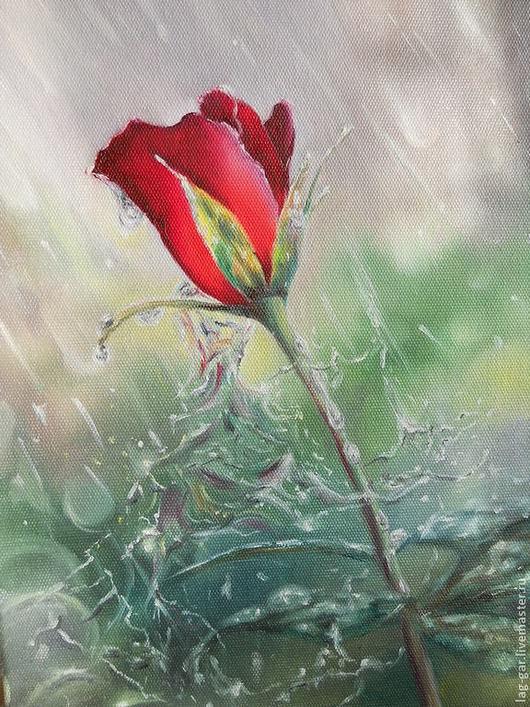 """Картины цветов ручной работы. Ярмарка Мастеров - ручная работа. Купить Картина маслом """"Роза дождя"""". Handmade. Картина"""