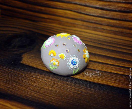 Броши ручной работы. Ярмарка Мастеров - ручная работа. Купить Брошь из полимерной глины Ночные цветы. Handmade. Серый