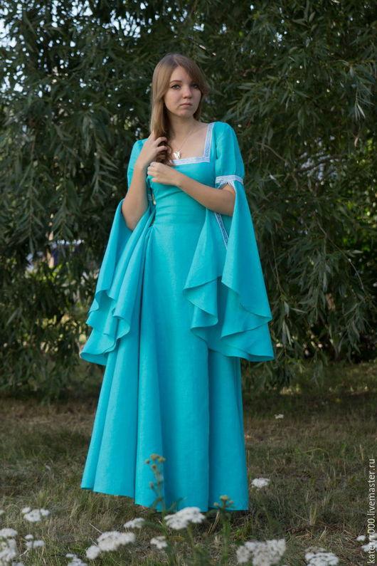 Платья ручной работы. Ярмарка Мастеров - ручная работа. Купить Эльфийское платье  мод.6. Handmade. Бирюзовый, фэнтези, лён